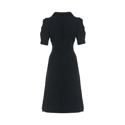 shawl collar wrap dress black